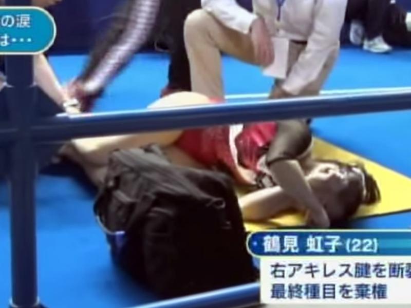 体操女子、鶴見虹子選手が逆足のアキレス腱を断裂!
